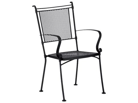 Woodard Bradford Mesh Wrought Iron Dining Arm Chair Stackable