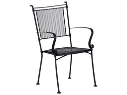 Bradford Mesh Wrought Iron Dining Arm Chair Stackable