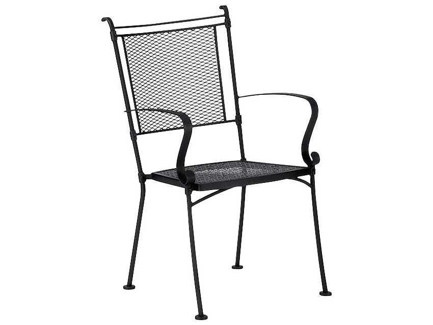 Woodard bradford mesh wrought iron dining arm chair