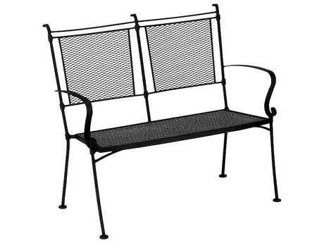 Woodard Bradford Mesh Wrought Iron Bench Stackable