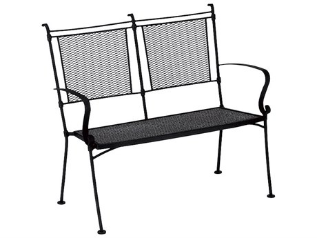 Woodard Bradford Mesh Wrought Iron Bench Stackable