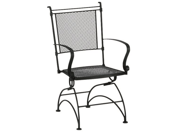 Woodard Bradford Mesh Wrought Iron Coil Spring Dining Chair PatioLiving