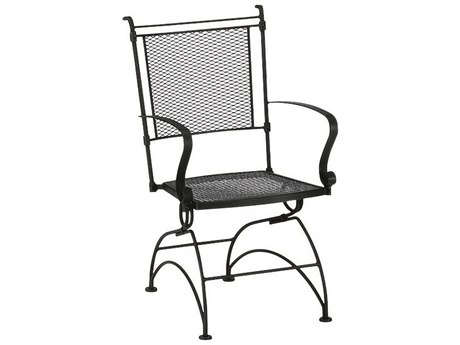 Woodard Bradford Mesh Wrought Iron Coil Spring Dining Chair w/ Seat Cushion