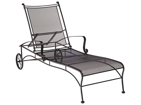 Woodard Bradford Mesh Wrought Iron Adjustable Chaise Lounge w/ Seat & Back Cushion