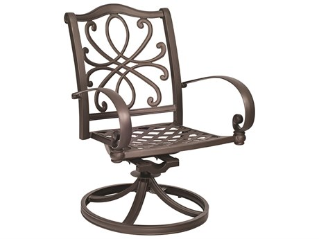 Woodard Holland Cast Aluminum Swivel Rocker Dining Chair