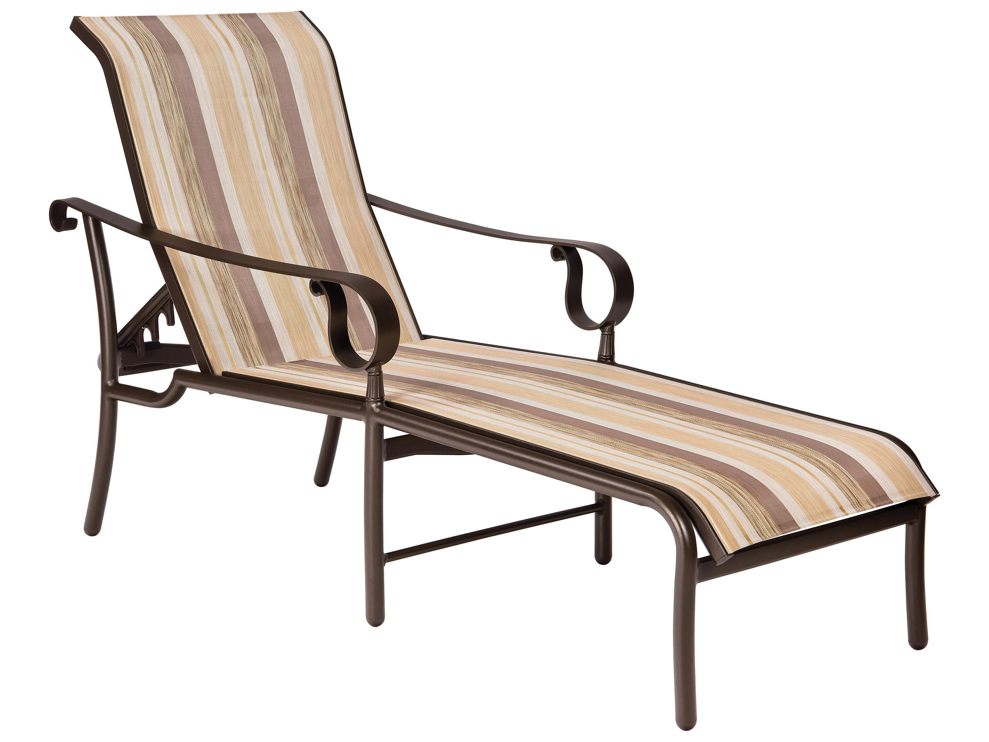 Woodard ridgecrest sling aluminum adjustable chaise lounge for Aluminum sling chaise lounge