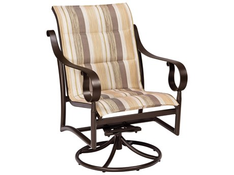 Woodard Ridgecrest Padded Sling Aluminum Low Back Swivel Rocker