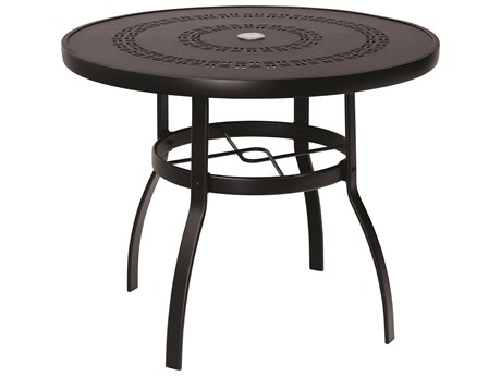 Woodard Deluxe Aluminum 36 Round Trellis Top Table with Umbrella Hole