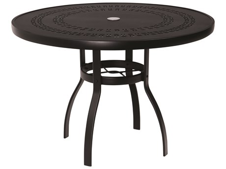 Woodard Aluminum Deluxe 42''Wide Round Trellis Top Dining Table with Umbrella Hole PatioLiving