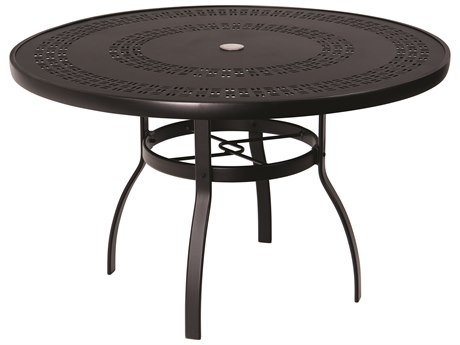 Woodard Aluminum Deluxe 48''Wide Round Trellis Top Dining Table with Umbrella Hole PatioLiving