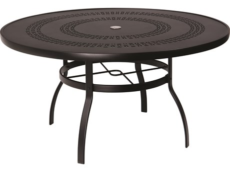 Woodard Aluminum Deluxe 54''Wide Round Trellis Top Table with Umbrella Hole PatioLiving