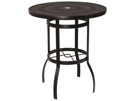 Woodard Deluxe Aluminum 36 Round Trellis Top Bar Height Table with Umbrella Hole