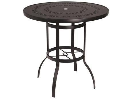 Woodard Deluxe Aluminum 42 Round Bar Height Table Trellis Top with Umbrella Hole