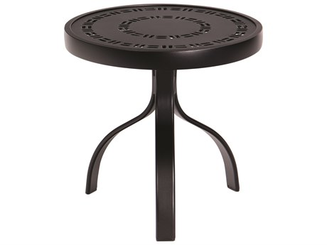 Woodard Aluminum Deluxe 18''Wide Round Trellis Top End Table PatioLiving