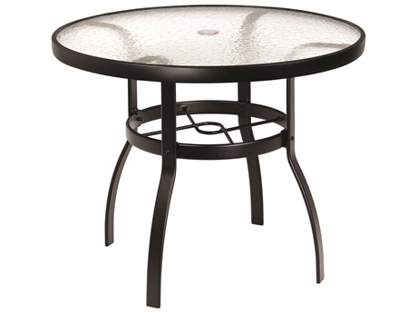 Woodard Deluxe Aluminum 36 Round Acrylic Top Table with Umbrella Hole