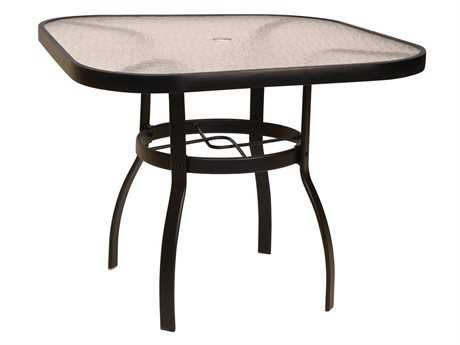 Woodard Deluxe Aluminum 36 Square Acrylic Top Table with Umbrella Hole