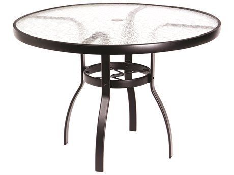 Woodard Deluxe Aluminum 42 Round Acrylic Top Table with Umbrella Hole