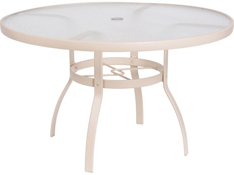 Woodard Quick Ship Deluxe Aluminum Sandstone 48 Round Acrylic Top Table with Umbrella Hole