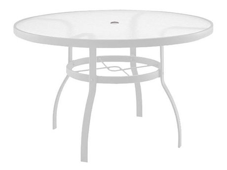 Woodard Quick Ship Deluxe Aluminum White 48 Round Acrylic Top Table with Umbrella Hole