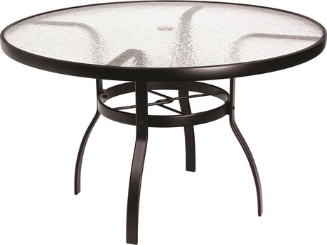 Woodard Deluxe Aluminum 48 Round Acrylic Top Table with Umbrella Hole