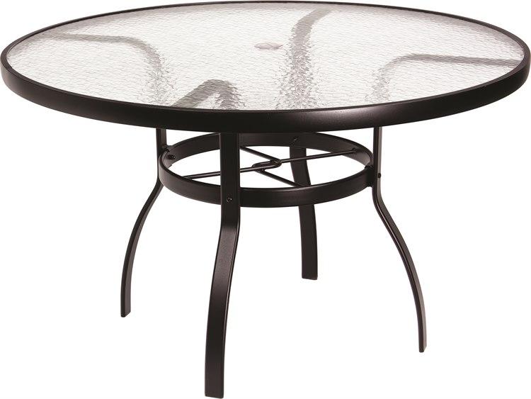 Woodard Aluminum Deluxe 48 Wide Round Acrylic Top Dining