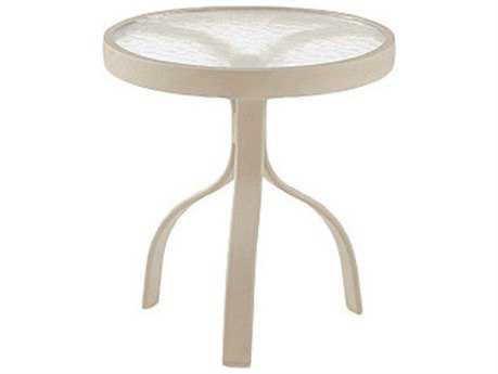 Woodard Deluxe Aluminum Sandstone 18 Round End Table with Acrylic Top