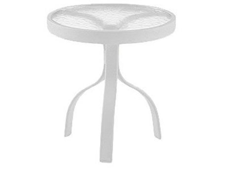 Woodard Deluxe Aluminum White 18 Round End Table with Acrylic Top