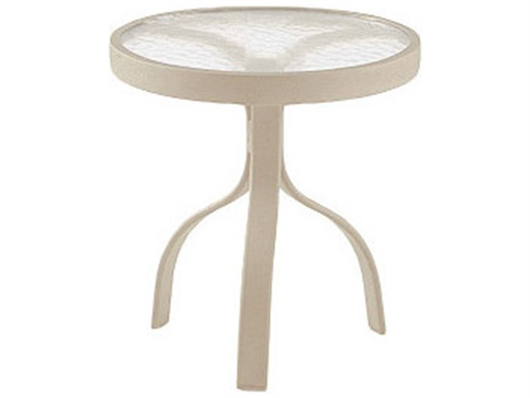 Woodard Deluxe Aluminum 18 Round Acrylic Top End Table PatioLiving