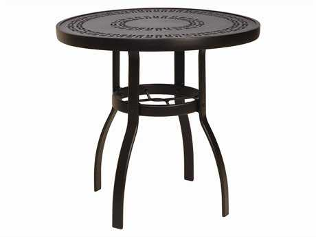 Woodard Deluxe Aluminum 30 Round Trellis Top Dining Table PatioLiving