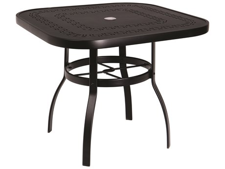 Woodard Deluxe Aluminum 36 Square Trellis Top Table with Umbrella Hole