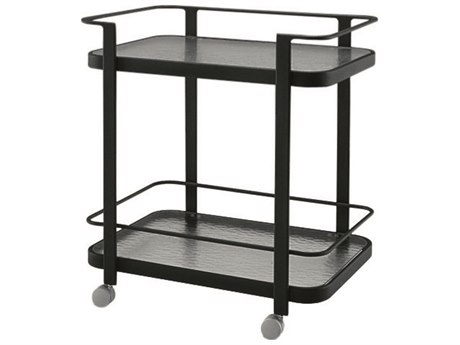Woodard Aluminum Tea Obscure Glass Serving Cart