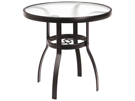 Woodard Deluxe Aluminum 30 Round Obscure Glass Top Dining Table