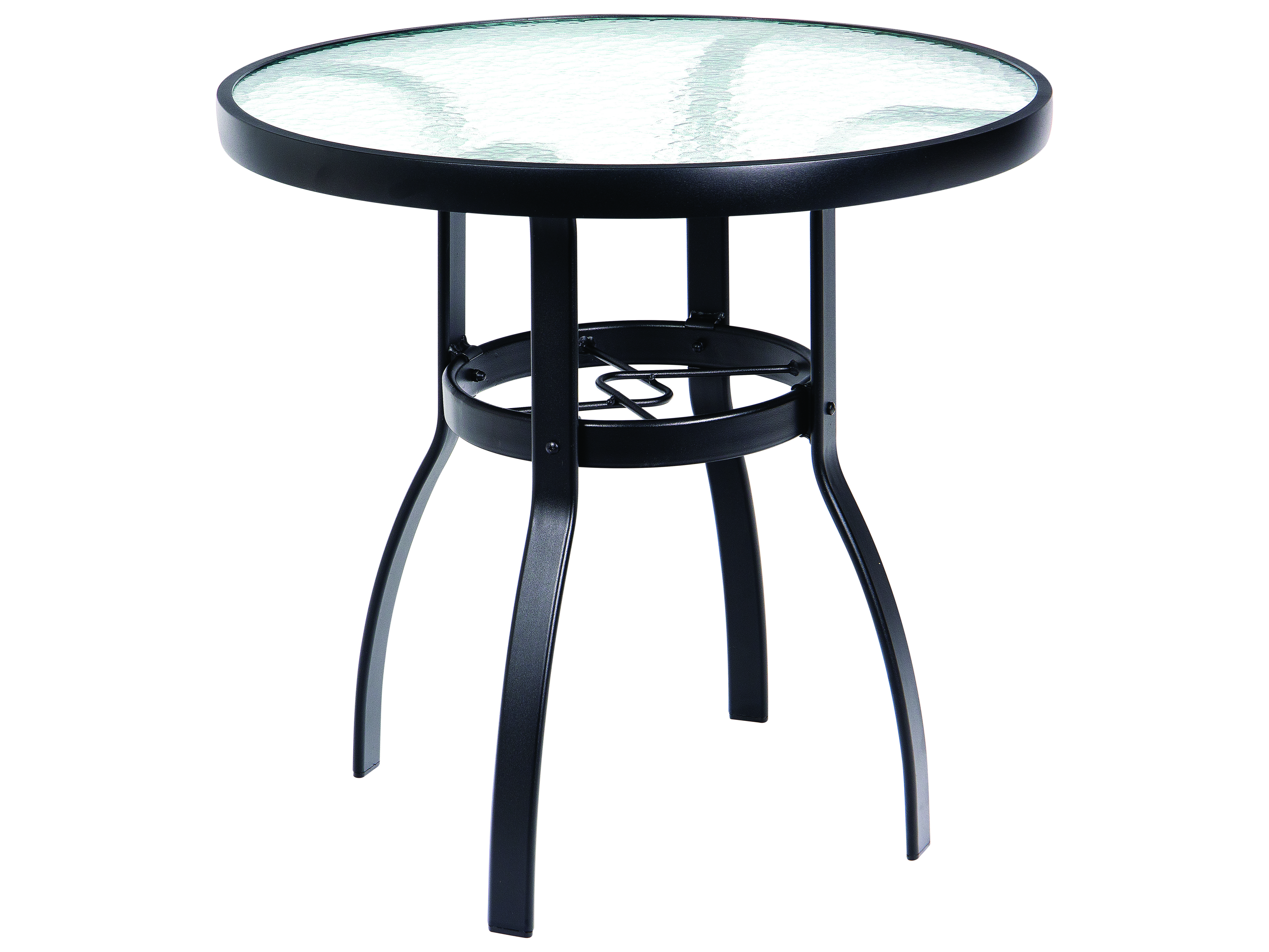 Woodard Deluxe Aluminum 30 Round Obscure Glass Top Dining