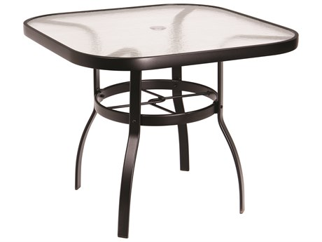 Woodard Deluxe Aluminum 36 Square Obscure Glass Top Table with Umbrella Hole