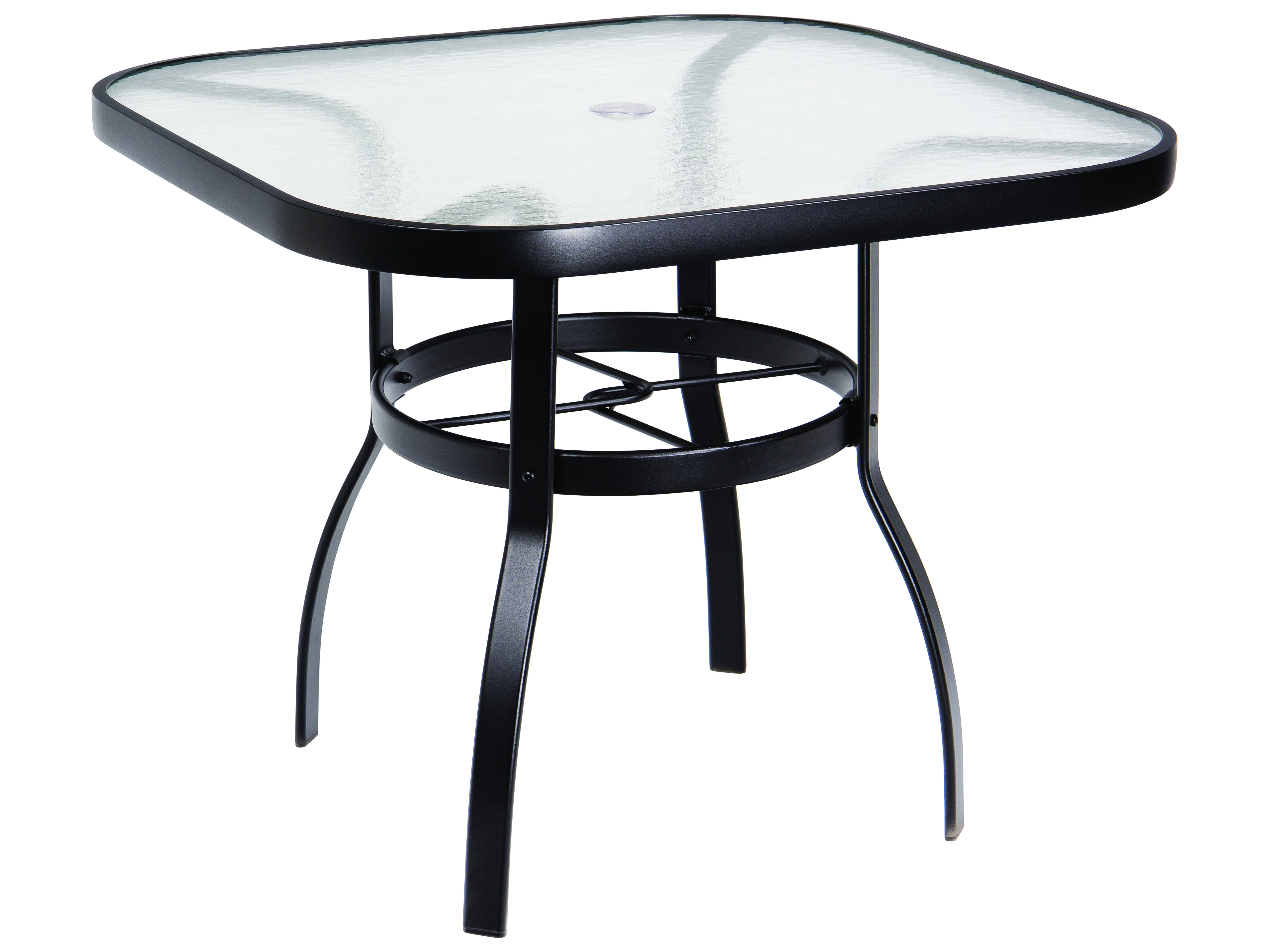 Woodard Deluxe Aluminum 36 Square Obscure Glass Top Table