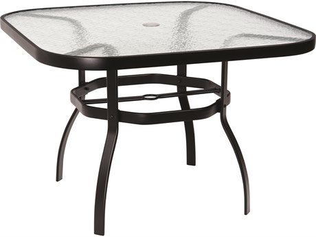 Woodard Deluxe Aluminum 42 Square Obscure Glass Top Table with Umbrella Hole