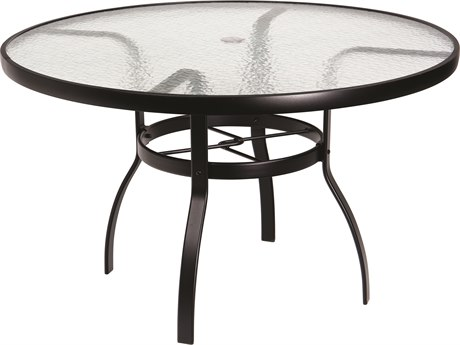 Woodard Deluxe Aluminum 48 Round Obscure Glass Top Table with Umbrella Hole