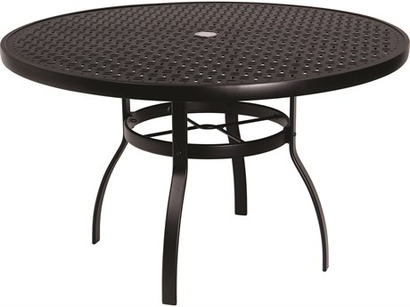 Woodard Deluxe Aluminum 48 Round Lattice Top Table with Umbrella Hole