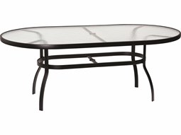 42'' x 74'' Oval Obscure Glass Top Table with Umbrella Hole