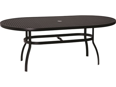 Woodard Deluxe Aluminum 74 x 42 Oval Lattice Top Table with Umbrella Hole