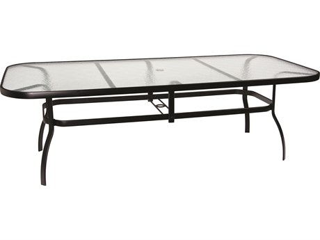 Woodard Deluxe Aluminum 90 x 44 Rectangular Obscure Glass Top Table with Umbrella Hole PatioLiving