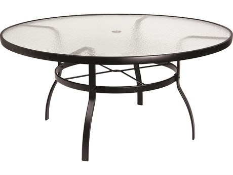 Woodard Deluxe Aluminum 60 Round Obscure Glass Top Table with Umbrella Hole