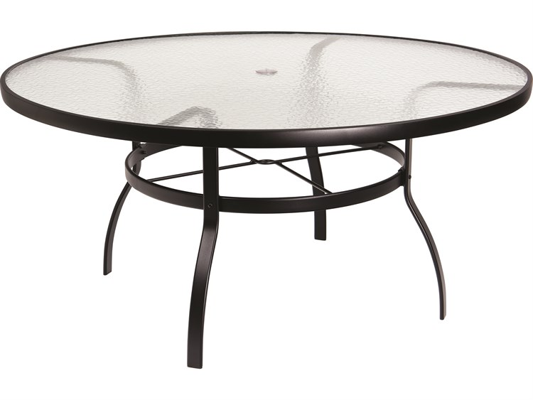 Woodard Deluxe Aluminum 60 Round Obscure Glass Top Table with Umbrella Hole PatioLiving