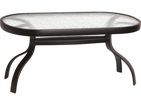 Woodard Deluxe Aluminum 37.5 x 19 Oval Obscure Glass Top Coffee Table