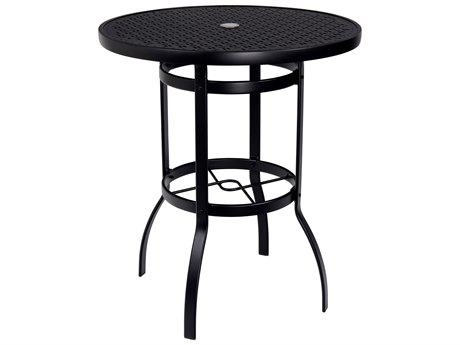 Woodard Deluxe Aluminum 36 Round Lattice Top Bar Height Table with Umbrella Hole