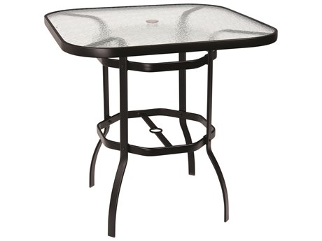 Woodard Deluxe Aluminum 42 Square Obscure Glass Top Bar Height Table with Umbrella Hole