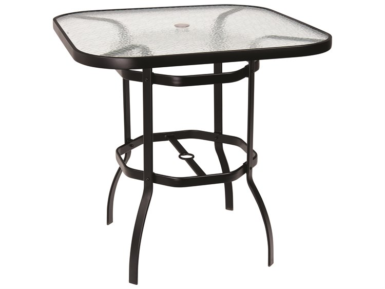Woodard Deluxe Aluminum 42 Square Obscure Glass Top Bar Height Table With  Umbrella Hole | 826538W