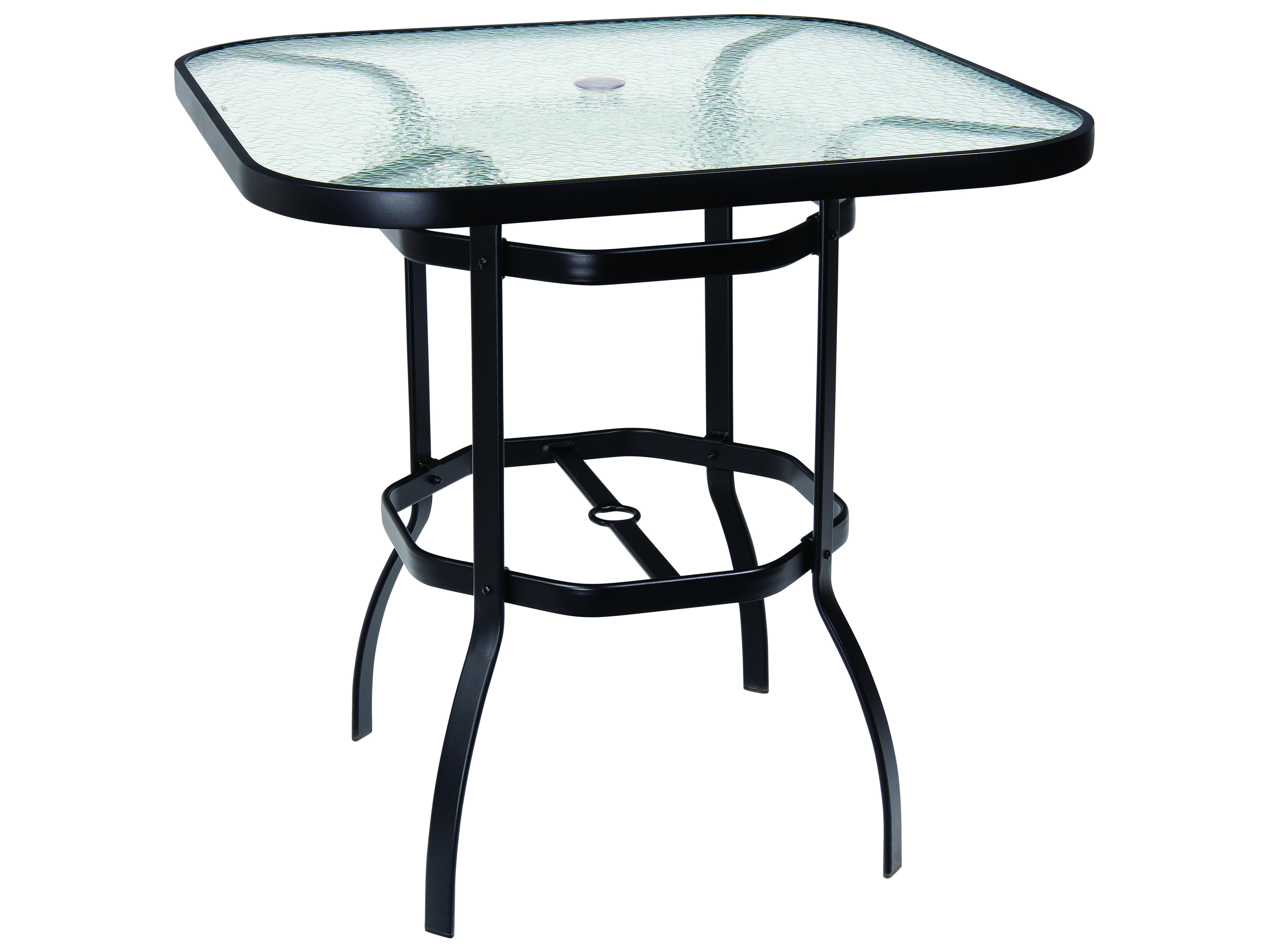 Woodard Aluminum Deluxe 42 Wide, Outdoor Bar Height Glass Top Table
