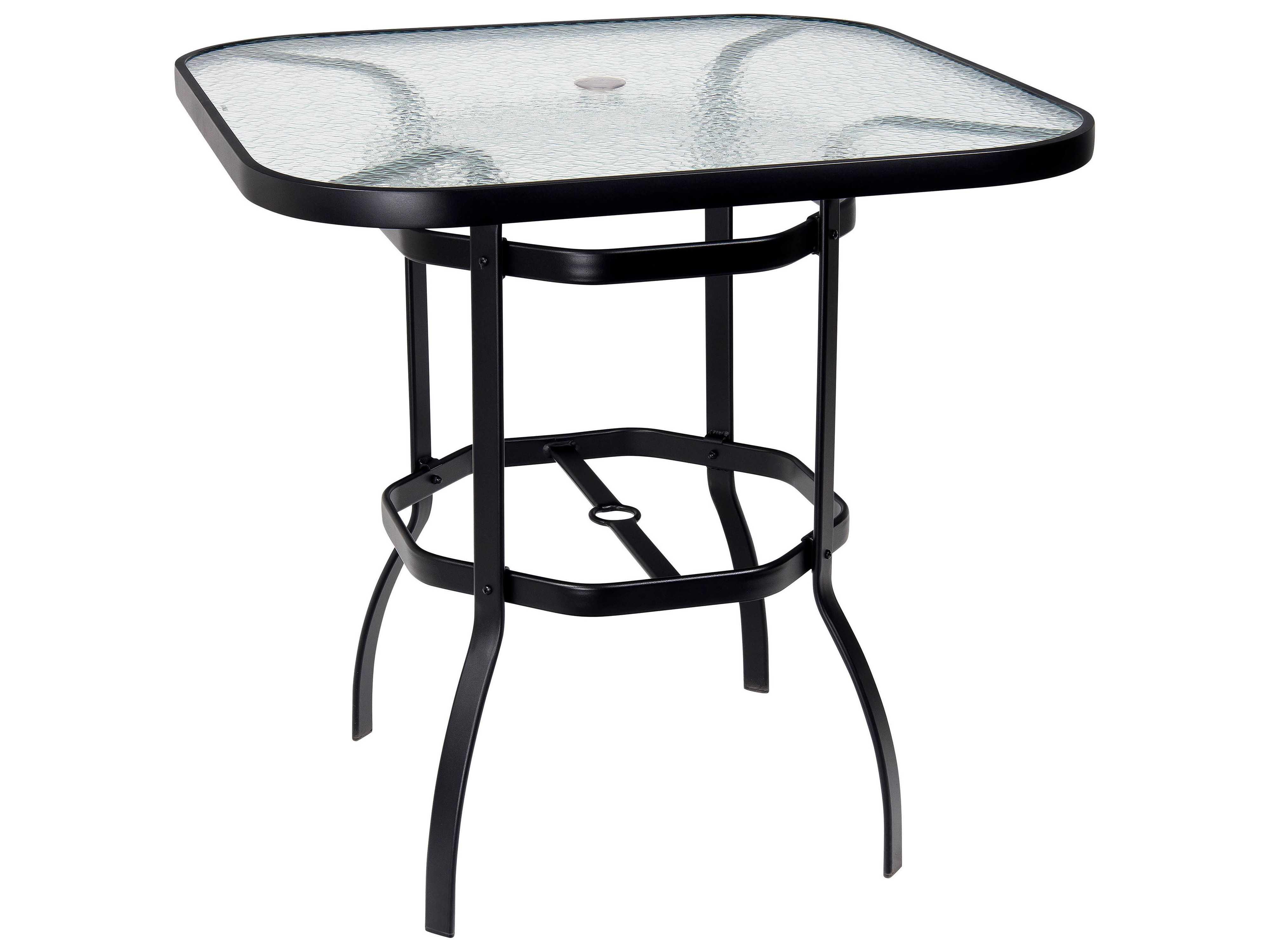 Woodard deluxe aluminum 42 square obscure glass top bar - Aluminium picnic table with umbrella ...