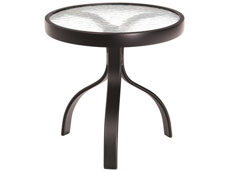 Woodard Deluxe Aluminum 18 Round Obscure Glass Top End Table PatioLiving